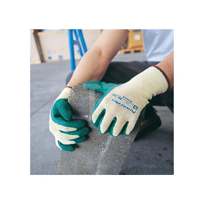Handschuhe EN388 Kat.II PowerFlex 80-100 Gr.9 Polyester BW m.Naturgummilatex