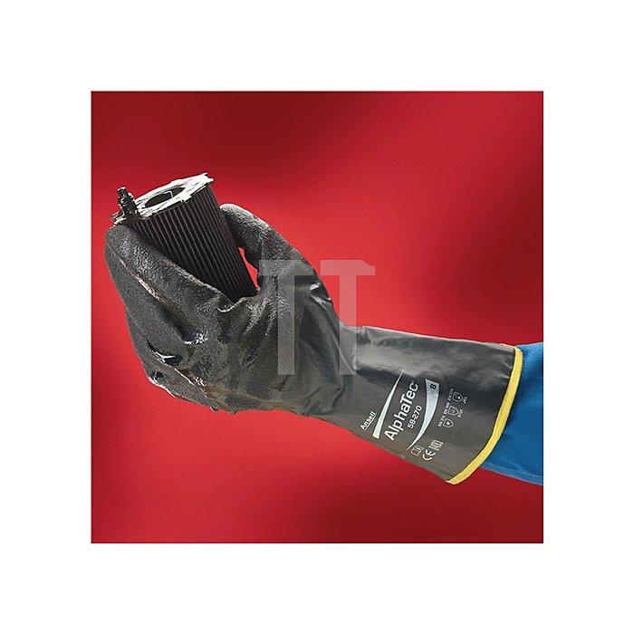 Handschuhe EN388/374 Kat.III AlphaTec 58-270 Gr. 8 Nylon m.Nitril schwarz