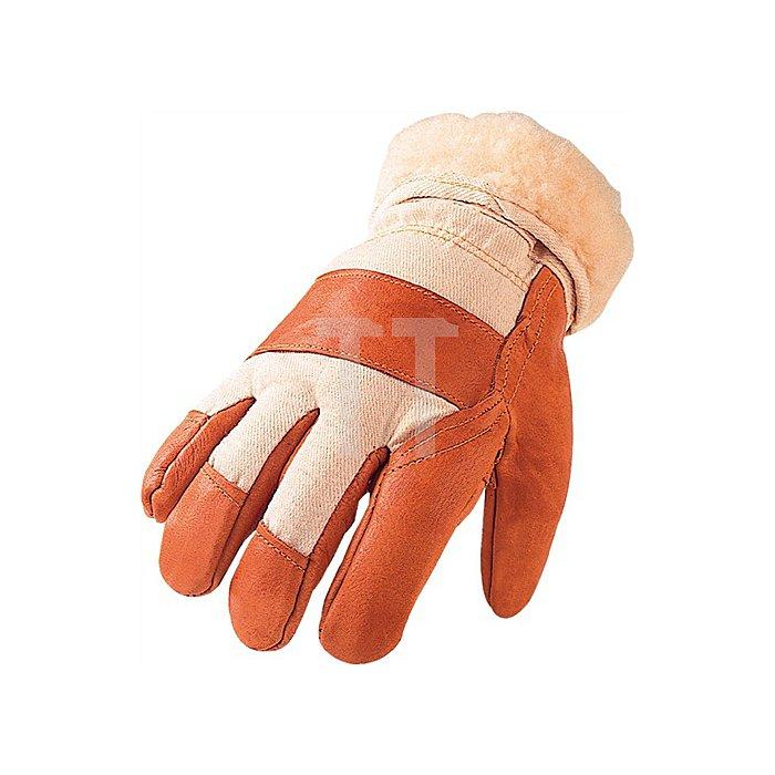 Handschuhe Gr.10 1/2 m.Teddyfutter Möbelleder m.gr.Stulpe aus Canvas
