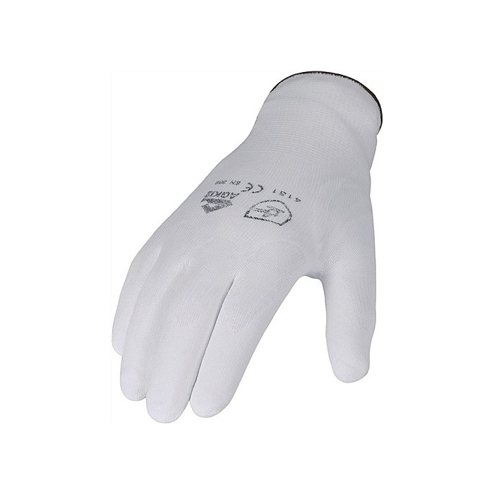 Handschuhe PU Gr.10 weiss teilbesch. Nylon Feinstrick m.Strickbund