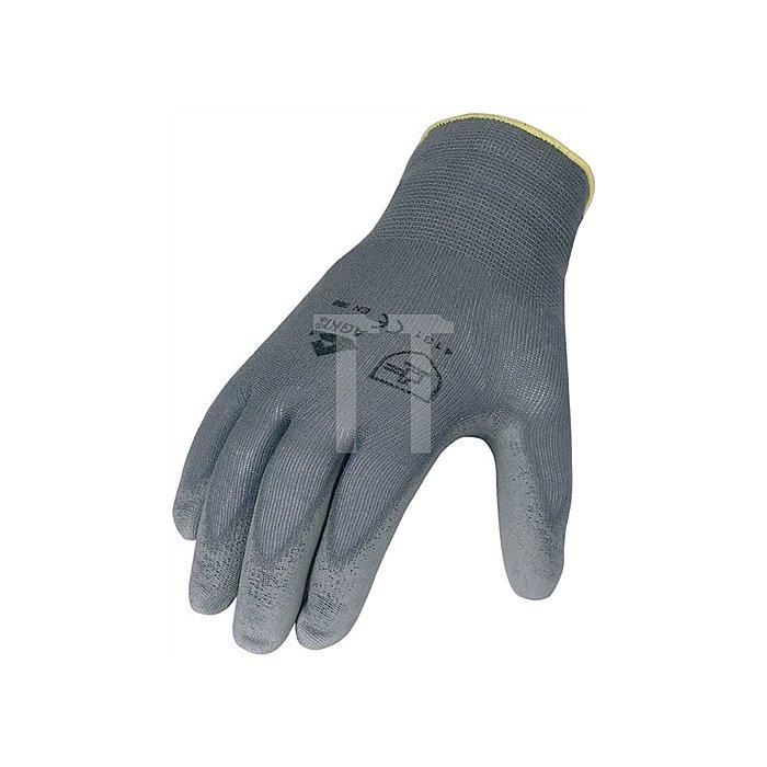 Handschuhe PU Gr.8 grau Nylon Feinstrick m.Strickbund