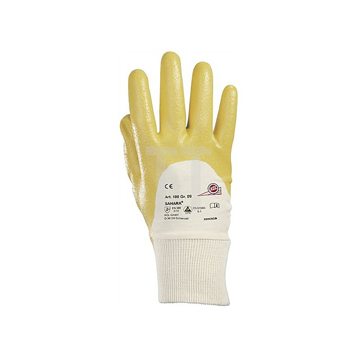 Handschuhe Sahara 100 Gr.9 gelb Nitril L.250mm KCL m.Strickbund