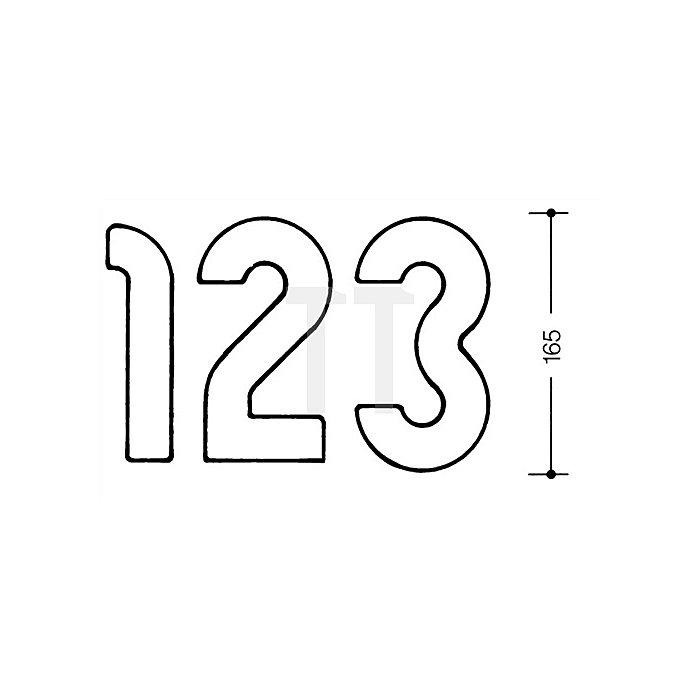 Hausnummer Ziffer 0 Polyamid D.33mm H.165mm lichtgrau
