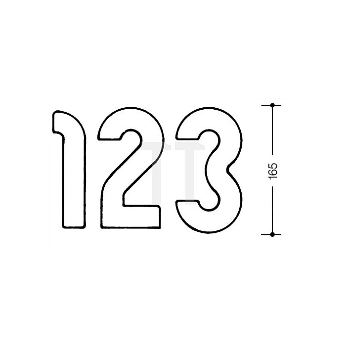 Hausnummer Ziffer 1 Polyamid D.33mm H.165mm lichtgrau