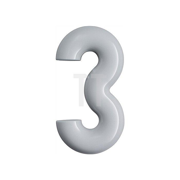 Hausnummer Ziffer 3 Polyamid D.33mm H.165mm reinweiss