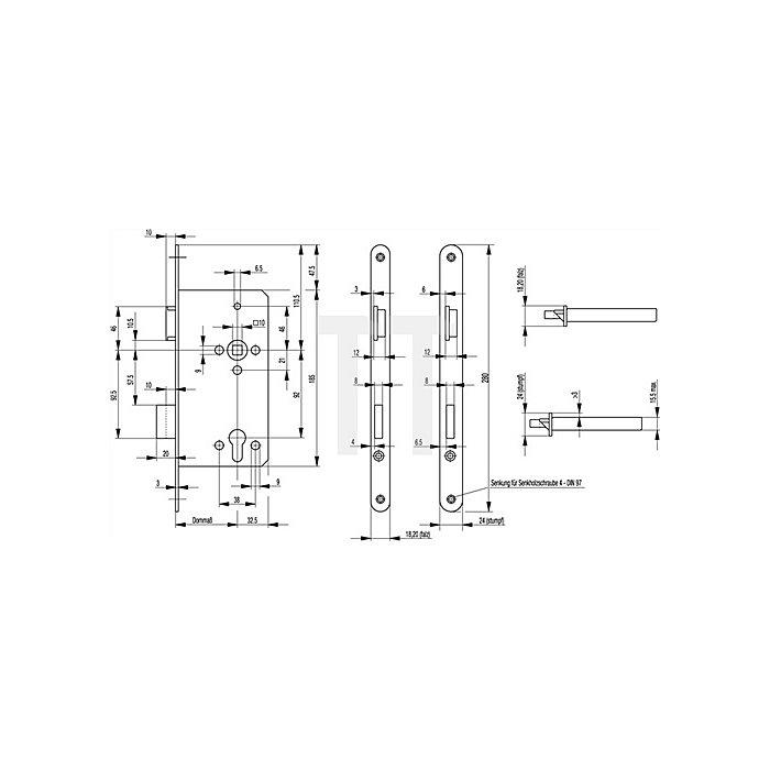 Haustür-Einsteckschl. 0024 DIN li.Dorn 55mm PZ Entf.92mm Stulp 20mm aluf. abgr.