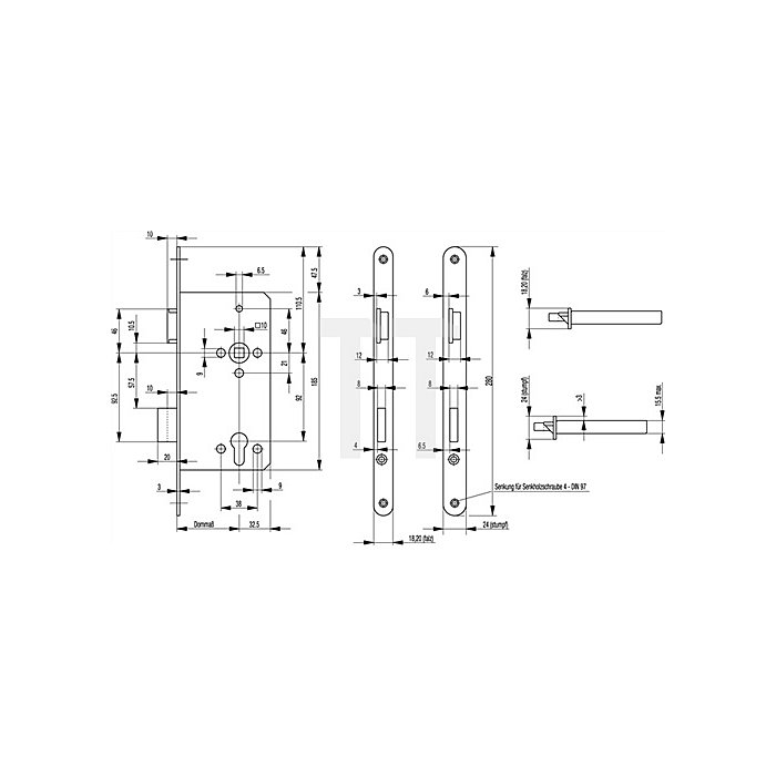 Haustür-Einsteckschl. 0024 DIN li.Dorn 55mm PZ Entf.92mm Stulp 20mm aluf. ktg.