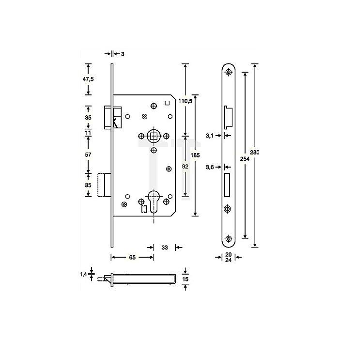 Haustür-Einsteckschloss PZ DIN li.Dorn 65mm Entf.92mm VK10mm Stulp 22mm käntig