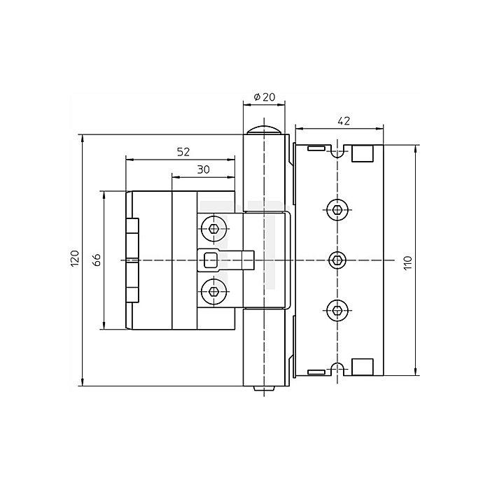 Haustürband BAKA Protect 3D D.20mm L.120mm verkehrsweiss Trgf.120kg