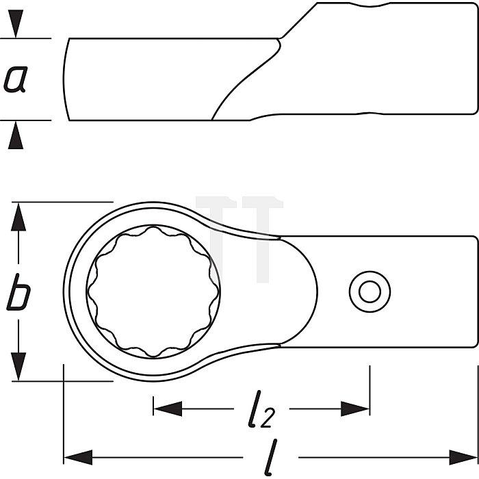 HAZET Aufsteck-Ringschlüssel - Rundaufnahme ø 21 / 26 mm - Außen-Doppel-Sechskant Profil - 41 mm