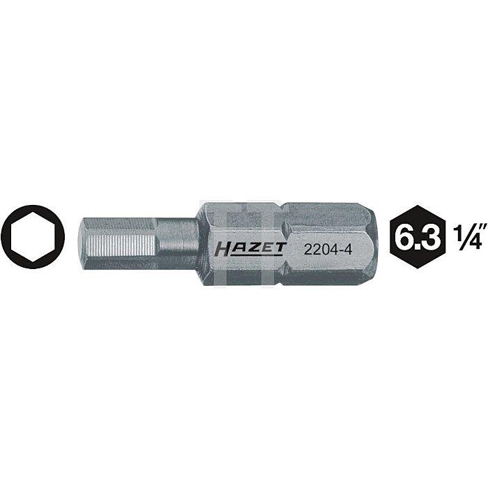 HAZET Bit - Sechskant massiv 6,3 (1/4 Zoll) - Innen-Sechskant Profil - 2 mm