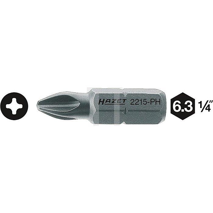 HAZET Bit - Sechskant massiv 6,3 (1/4 Zoll) - Kreuzschlitz Profil PH - PH2 mm