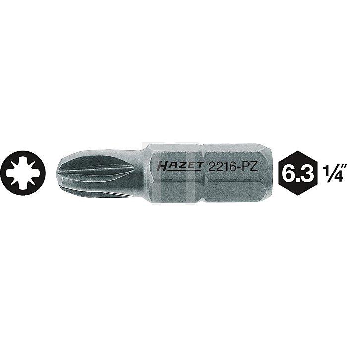 HAZET Bit - Sechskant massiv 6,3 (1/4 Zoll) - Pozidriv Profil PZ - PZ3 mm
