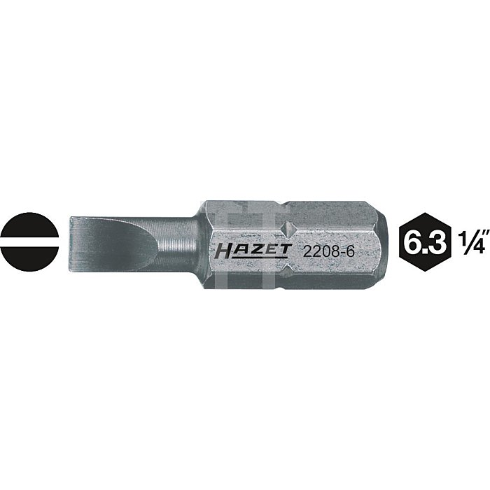 HAZET Bit - Sechskant massiv 6,3 (1/4 Zoll) - Schlitz Profil - 1 x 6 mm