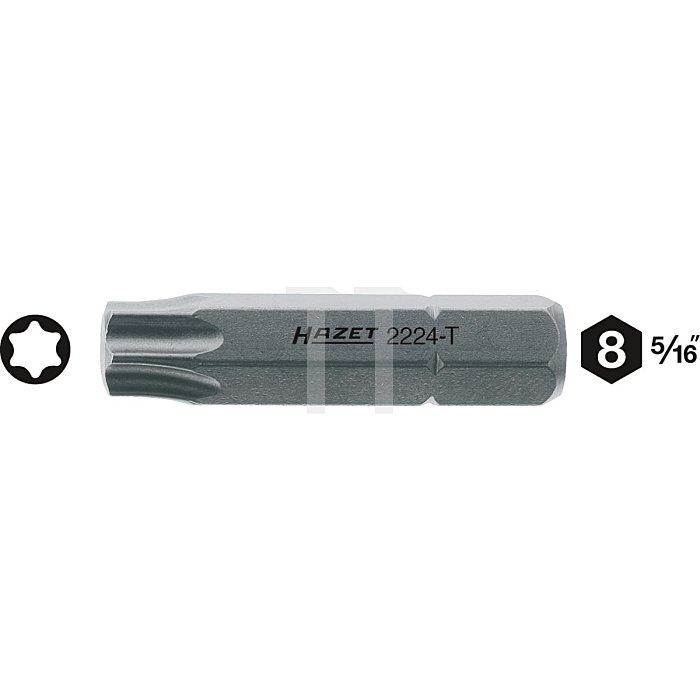 HAZET Bit - Sechskant massiv 8 (5/16 Zoll) - Innen TORX® Profil - T27 mm