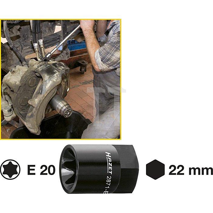 HAZET Bremssattel TORX® Einsatz - Außen-Sechskant 22 mm - Außen TORX® Profil - E20 mm