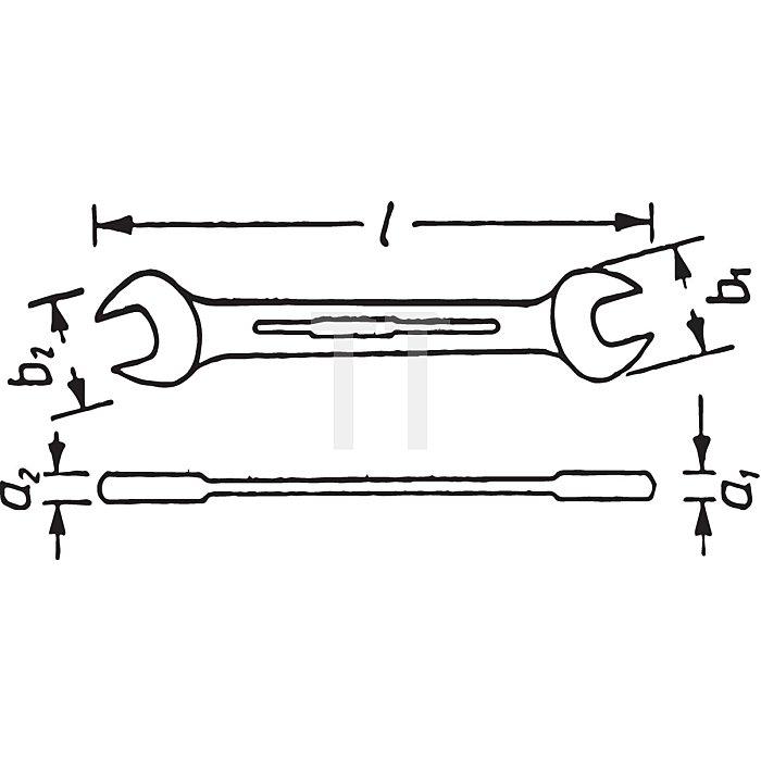 HAZET Doppel-Maulschlüssel - Außen-Sechskant Profil - 1.1/16 x 1.1/4 mm