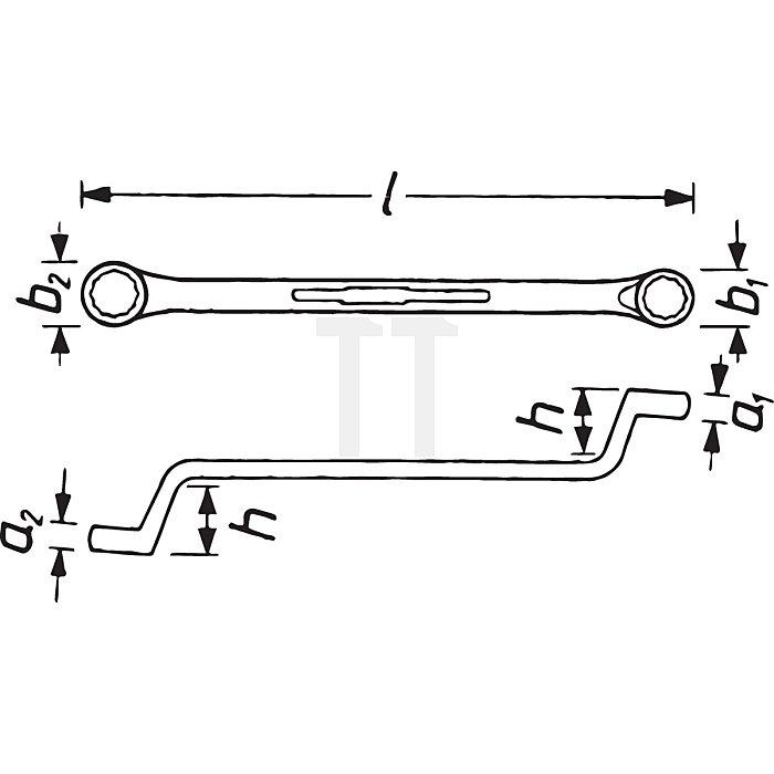 HAZET Doppel-Ringschlüssel - Außen-Doppel-Sechskant Profil - 1 x 1.1/8 mm