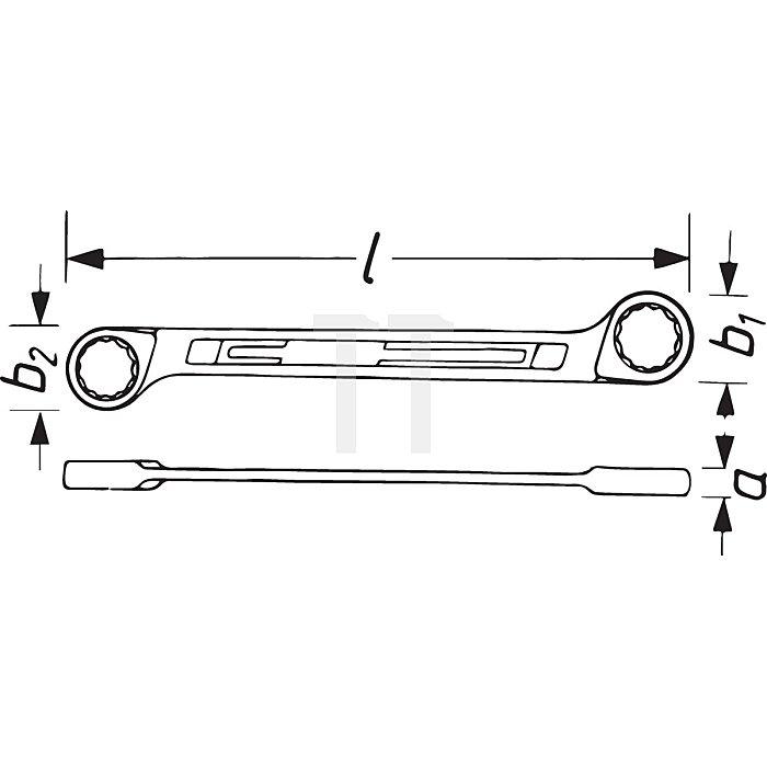 HAZET Doppel-Ringschlüssel - Außen-Doppel-Sechskant-Tractionsprofil - 16 x 17 mm