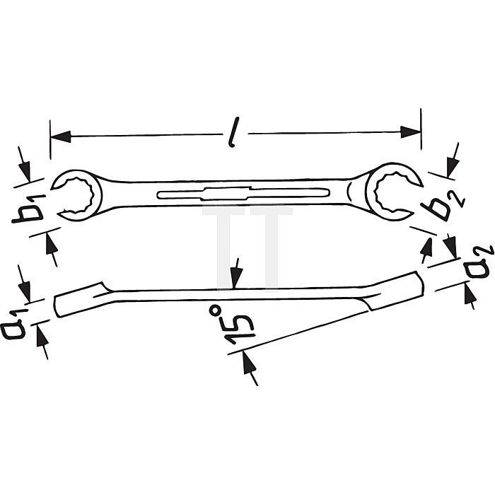 HAZET Doppel-Ringschlüssel (offen) - Außen-Doppel-Sechskant Profil - 16 x 18 mm