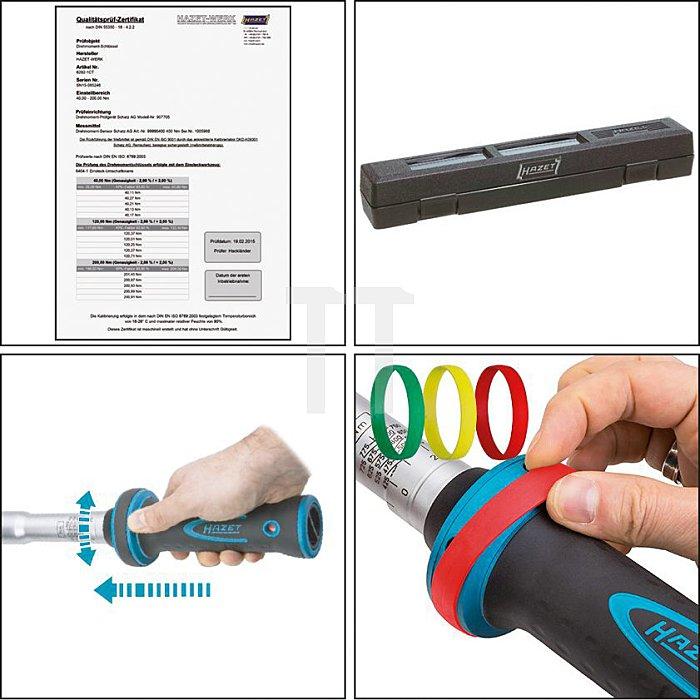 HAZET Drehmoment-Schlüssel - Nm min-max: 200–500 Nm - Toleranz: 2% - Einsteck-Vierkant 14 x 18 mm