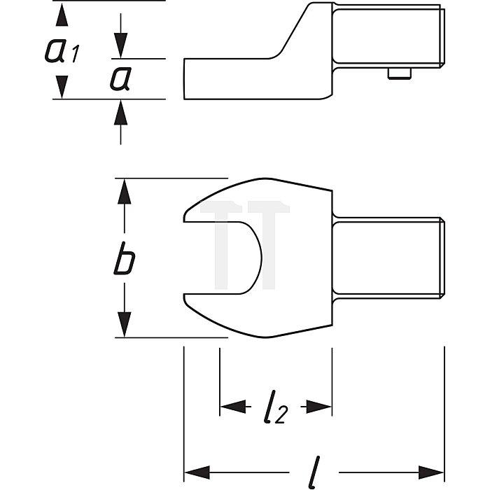 HAZET Einsteck-Maulschlüssel - Einsteck-Vierkant 9 x 12 mm - Außen-Sechskant Profil - 16 mm