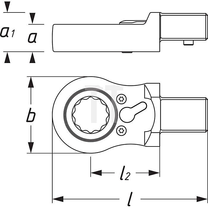 HAZET Einsteck-Ratschen-Ringschlüssel - Einsteck-Vierkant 14 x 18 mm - Außen-Doppel-Sechskant Profil - 19 mm