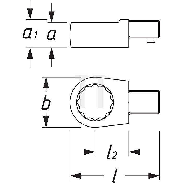 HAZET Einsteck-Ringschlüssel - Einsteck-Vierkant 9 x 12 mm - Außen-Doppel-Sechskant-Tractionsprofil - 22 mm