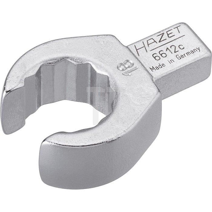 HAZET Einsteck-Ringschlüssel (offen) - Einsteck-Vierkant 9 x 12 mm - Außen-Doppel-Sechskant Profil - 18 mm