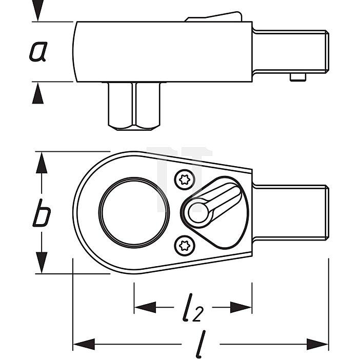 HAZET Einsteck-Umschaltknarre - Einsteck-Vierkant 9 x 12 mm - Vierkant massiv 10 mm (3/8 Zoll)