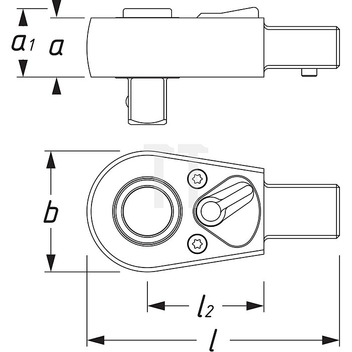 HAZET Einsteck-Umschaltknarre - Einsteck-Vierkant 9 x 12 mm - Vierkant massiv 12,5 mm (1/2 Zoll)