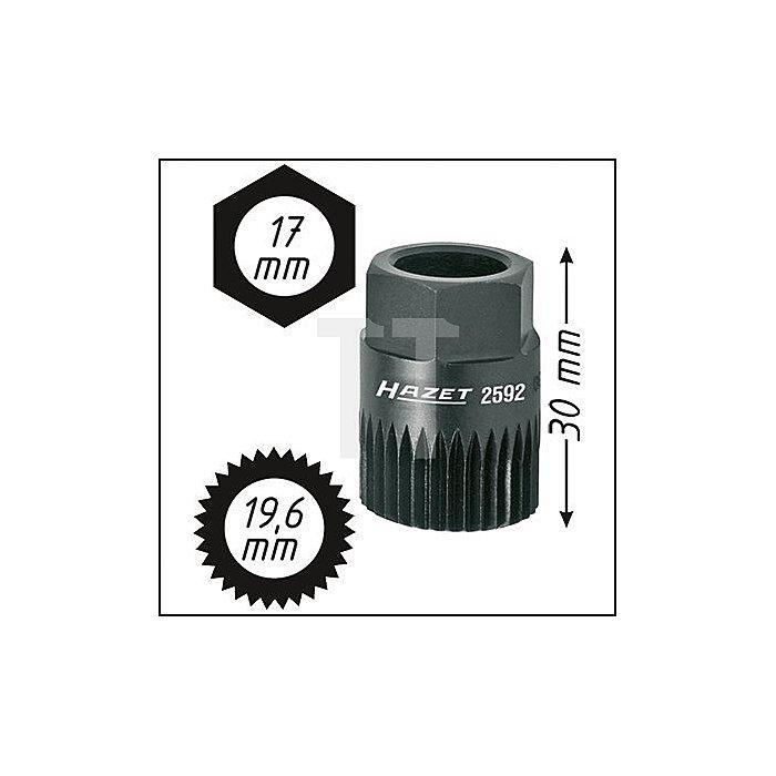 HAZET Keil(rippen)riemenscheibe-Adapter - Außen-Sechskant 17 mm - Vielzahn Profil - 19.6 mm