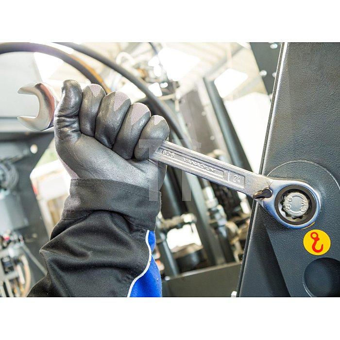 HAZET Knarren-Ring-Maulschlüssel - Außen-Doppel-Sechskant-Tractionsprofil - 15 mm