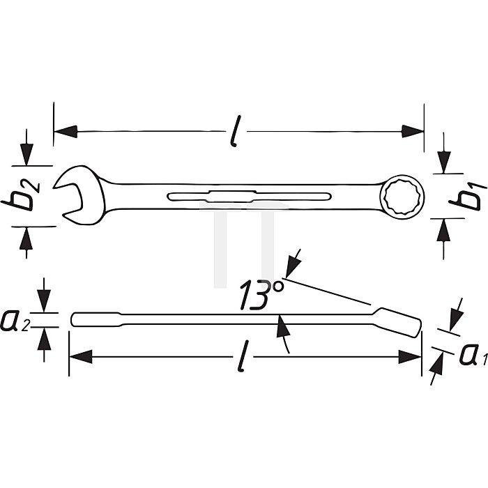 HAZET Knarren-Ring-Maulschlüssel - Außen-Doppel-Sechskant-Tractionsprofil - 22 mm