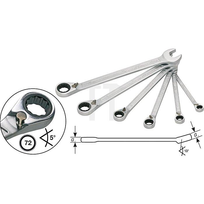 HAZET Knarren-Ring-Maulschlüssel-Satz - Außen-Doppel-Sechskant-Tractionsprofil - Anzahl Werkzeuge: 6