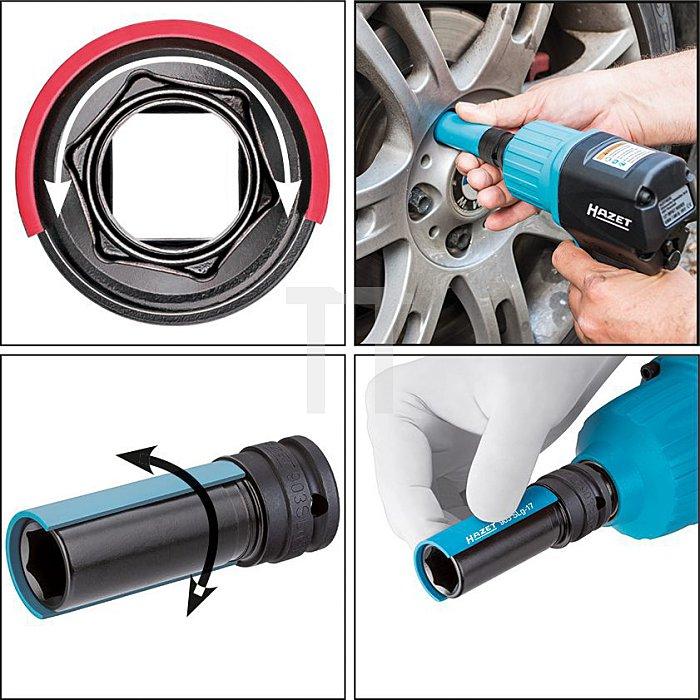 HAZET Kraft-Steckschlüssel-Einsatz (6kt.) - Vierkant hohl 12,5 mm (1/2 Zoll) - Außen-Sechskant-Tractionsprofil - 19 mm - Anzahl Werkzeuge: 3