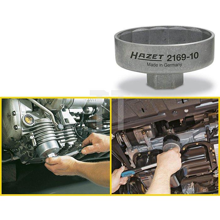 HAZET Ölfilter-Schlüssel - Vierkant hohl 10 mm (3/8 Zoll) - Außen-14-kant Profil