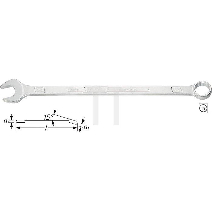 HAZET Ring-Maulschlüssel, extra lang, schlanke Bauform - Außen-Doppel-Sechskant-Tractionsprofil - 27 mm