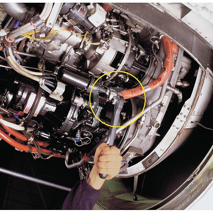 HAZET Ringschlüssel, Doppel-6kt, offen - Vierkant hohl 10 mm (3/8 Zoll) - Außen-Doppel-Sechskant Profil - 16 mm