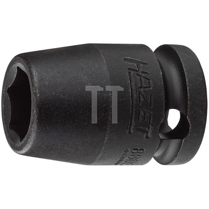 HAZET Schlag-, Maschinenschrauber-Steckschlüssel-Einsatz (6kt.) - Vierkant hohl 10 mm (3/8 Zoll) - Außen-Sechskant-Tractionsprofil - 10 mm