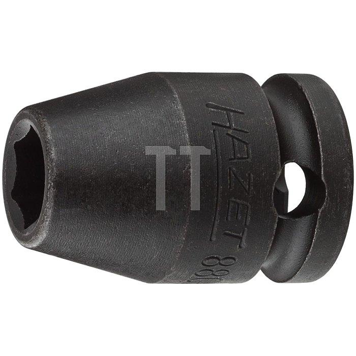 HAZET Schlag-, Maschinenschrauber-Steckschlüssel-Einsatz (6kt.) - Vierkant hohl 10 mm (3/8 Zoll) - Außen-Sechskant-Tractionsprofil - 8 mm