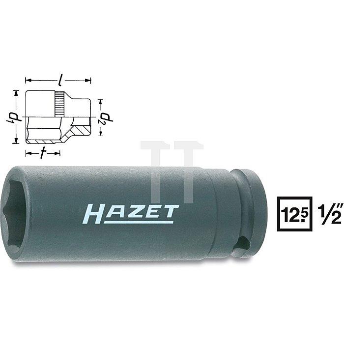 HAZET Schlag-, Maschinenschrauber-Steckschlüssel-Einsatz (6kt.) - Vierkant hohl 12,5 mm (1/2 Zoll) - Außen-Sechskant-Tractionsprofil - 13 mm