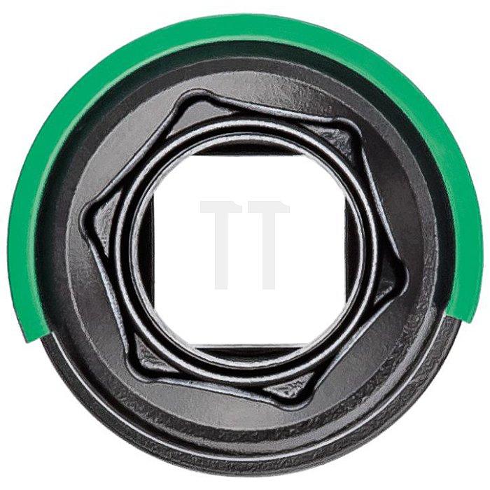 HAZET Schlag-, Maschinenschrauber-Steckschlüssel-Einsatz (6kt.) - Vierkant hohl 12,5 mm (1/2 Zoll) - Außen-Sechskant-Tractionsprofil - 22 mm