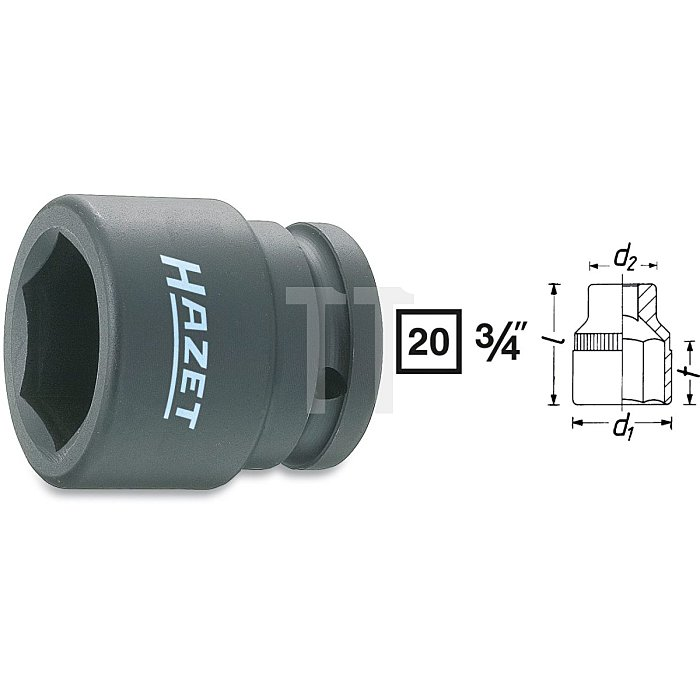 HAZET Schlag-, Maschinenschrauber-Steckschlüssel-Einsatz (6kt.) - Vierkant hohl 20 mm (3/4 Zoll) - Außen-Sechskant Profil - 19 mm