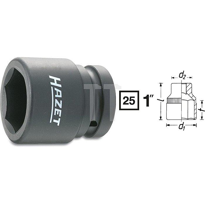 HAZET Schlag-, Maschinenschrauber-Steckschlüssel-Einsatz (6kt.) - Vierkant hohl 25 mm (1 Zoll) - Außen-Sechskant Profil - 36 mm