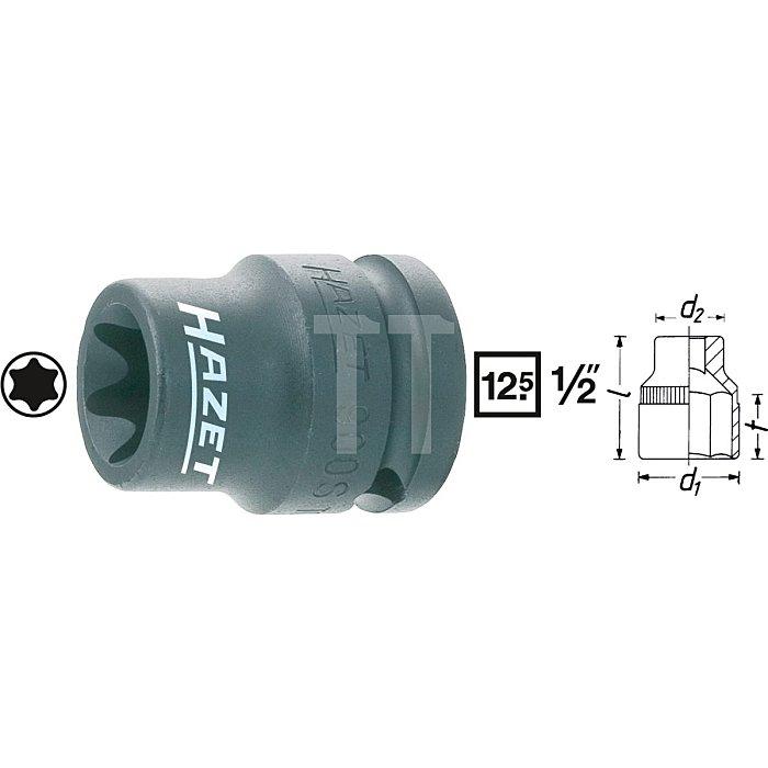 HAZET Schlag-, Maschinenschrauber-Steckschlüssel-Einsatz (TORX®) - Vierkant hohl 12,5 mm (1/2 Zoll) - Außen TORX® Profil - E14 mm