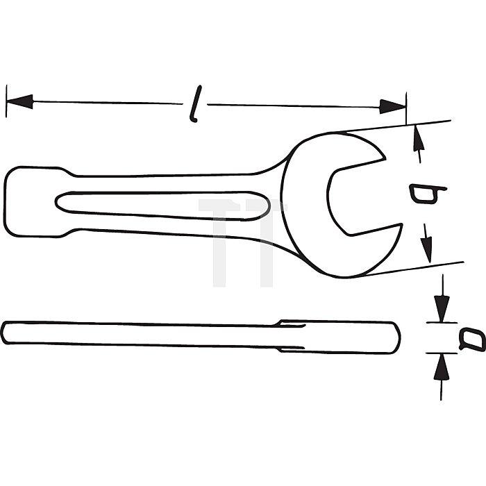HAZET Schlag-Maulschlüssel - Außen-Sechskant Profil - 75 mm