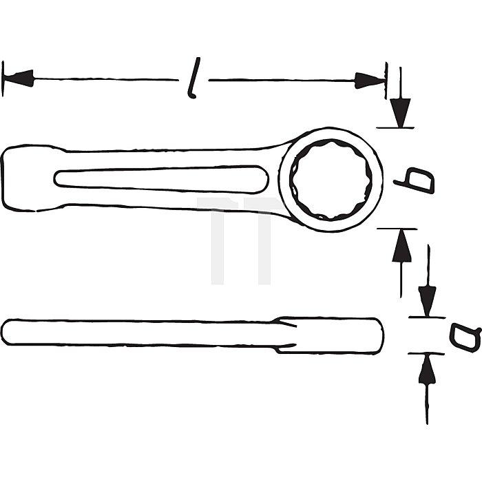 HAZET Schlag-Ringschlüssel - Außen-Doppel-Sechskant Profil - 90 mm