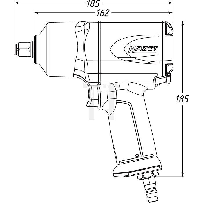 HAZET Schlagschrauber mit Sortiment - Lösemoment maximal: 1700 Nm - Vierkant massiv 12,5 mm (1/2 Zoll) - Hochleistungs-Doppelhammer-Schlagwerk