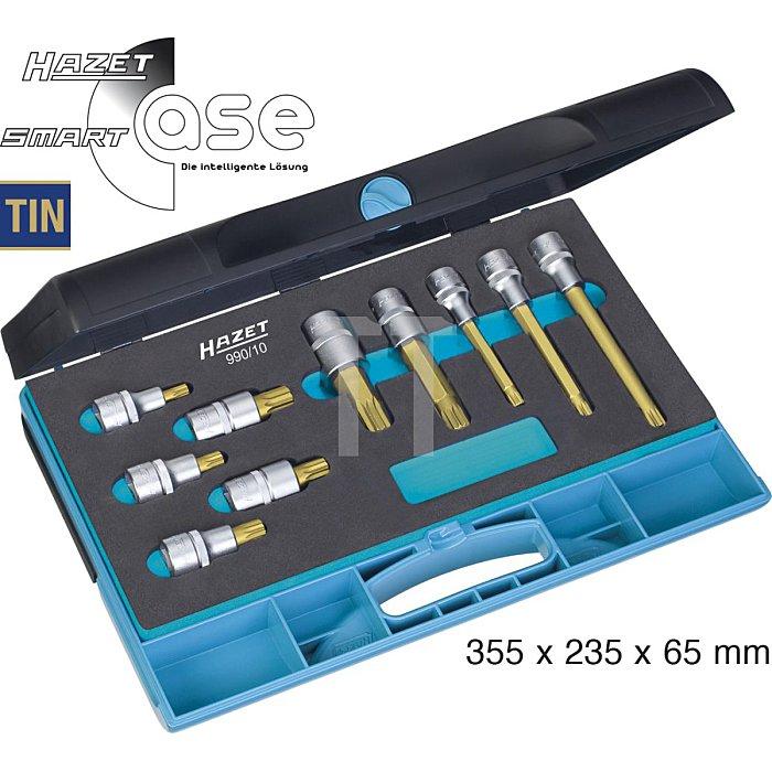 HAZET Schraubendreher-Steckschlüsseleinsatz-Satz - Vierkant hohl 12,5 mm (1/2 Zoll) - Innen Vielzahn Profil XZN - Anzahl Werkzeuge: 10